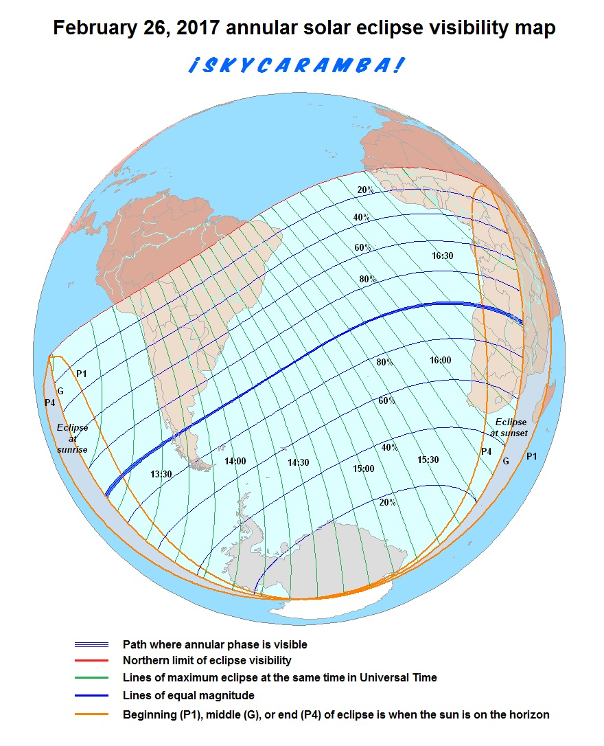 Visibility map for the February 26, 2017 annular solar eclipse