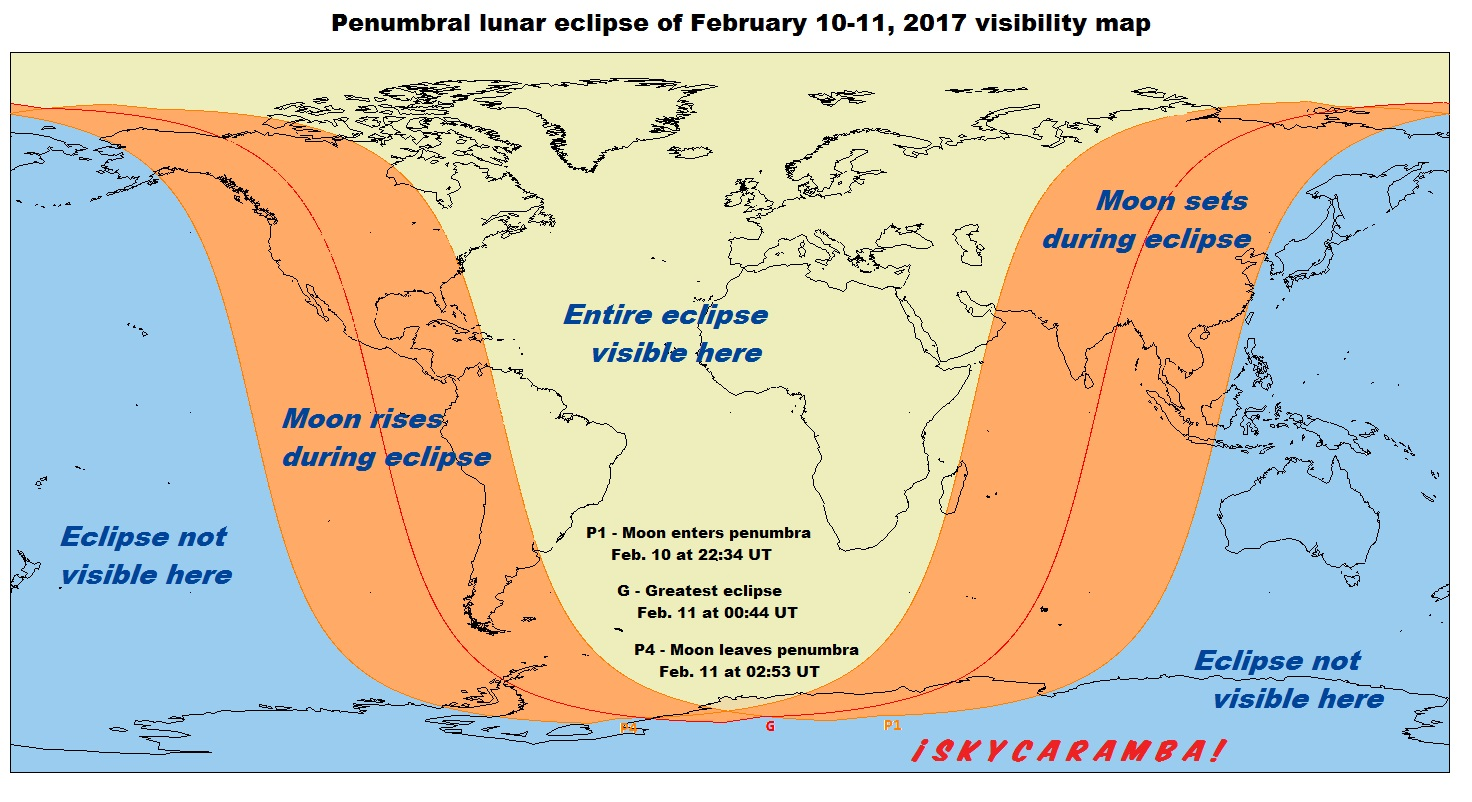 Visibility map for the February 10-11, 2017 penumbral lunar eclipse