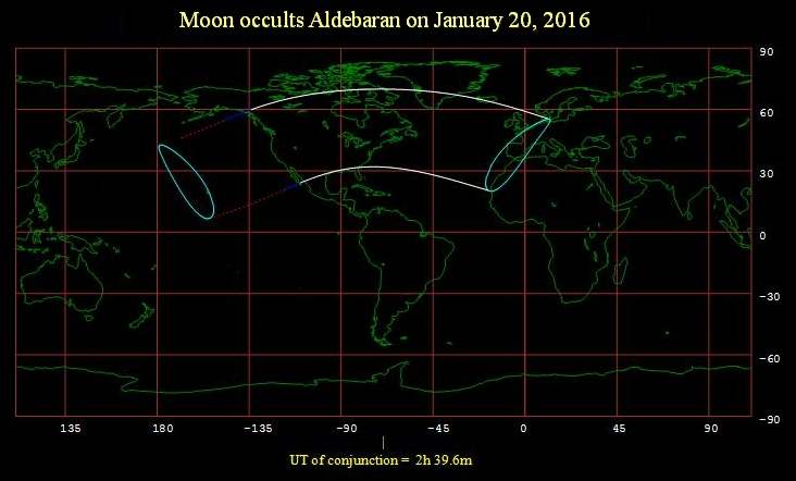Aldebaran occultation visibility Jan 20, 2016